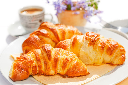 Freshly baked french butter croissants on plate