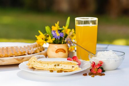 Outdoors breakfast - curd cheese pie and orange juice photo