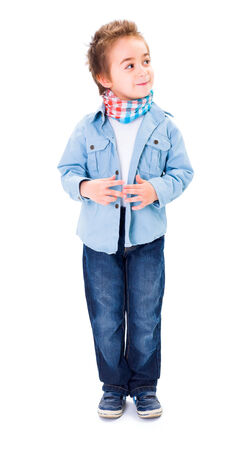 sidelong: Cute young boy thinking and looking sidelong on white background Stock Photo