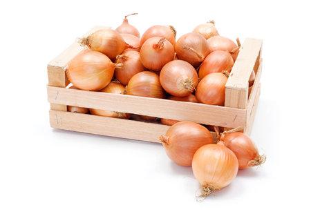 onions: Embalaje de madera de color amarillo cosecha de cebolla