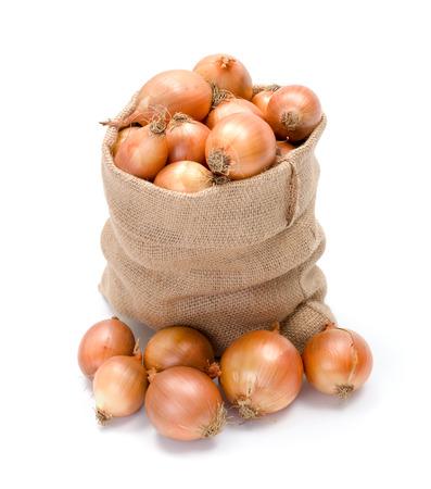 Full burlap bag of yellow onions