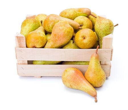 communis: Ripe pears in wooden crate. Pyrus communis