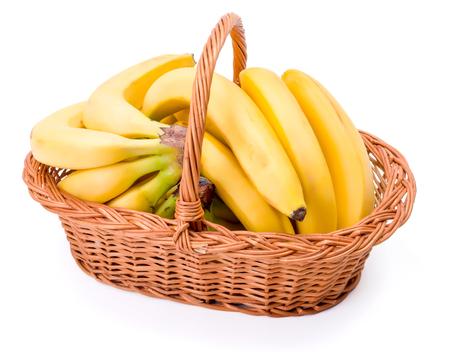 musa: Pipe bananas in wicker basket. Musa acuminata