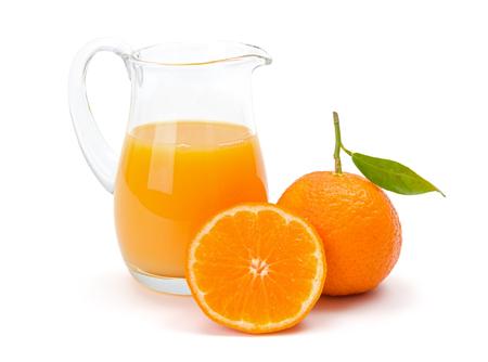 citrus reticulata: Fresh mandarin (satsuma or tangerine) juice in jug. Citrus reticulata