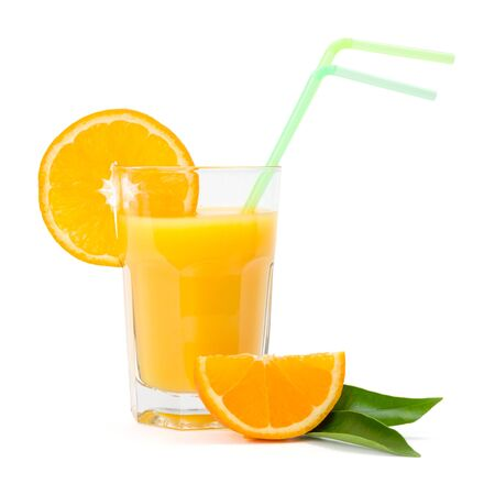 natural juices: Fresh orange juice in glass on white background