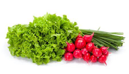 scallion: Fresh spring vegetables on white: radish, scallion and lettuce Stock Photo