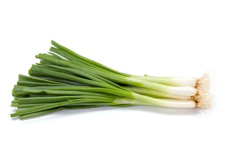 scallion: Bunch of fresh green onions on white