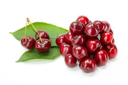 bunch: Bunch of fresh sweet cherry berries (Prunus avium) on white Stock Photo