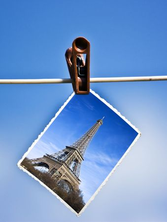 Vacation photo hanging on a clothesline Stock Photo - 5201398