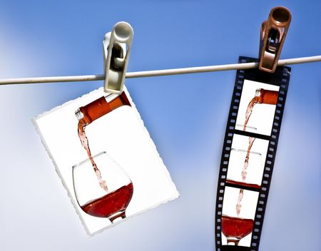 Photo an filmstrip hanging on a clothesline