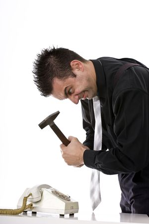 destroying: Businessman destroying his phone with a hammer  Stock Photo