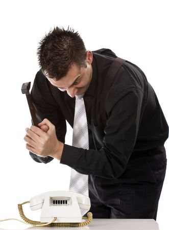 destruct: Businessman destroying his phone with a hammer  Stock Photo