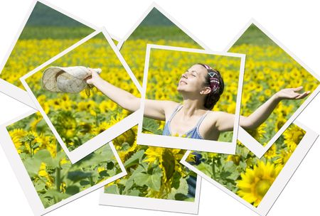 Young beautiful woman in a sunflower field-photo collage photo