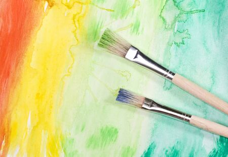Colorful, hand painted watercolor background photo