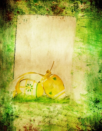 Grunge retro background with easter elements and copy space Stock Photo - 12983645