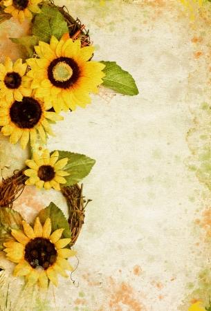 zonnebloem: Grunge retro achtergrond met zonnebloemen en kopieer de ruimte Stockfoto