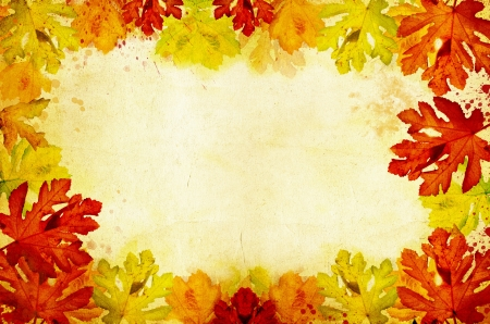 Grunge background with autumn leaves and copy space  photo