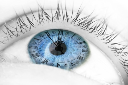 passing: Blue human eye and clock - Life passing concept