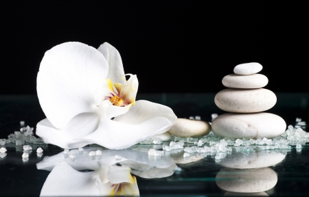 Spa stones with orchid flower on black background photo