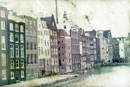 Vintage photo of traditional dutch buildings in Amsterdam photo