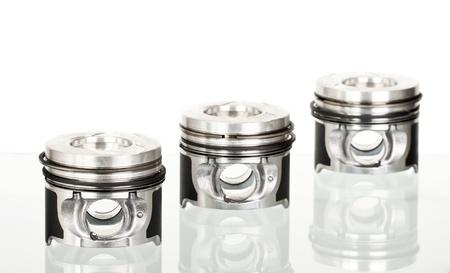 aluminum rod: Pistons isolated on white  Stock Photo