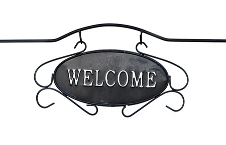 Welcome sign isolated on white   photo