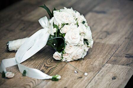 Vintage photo of white wedding bouquet  photo