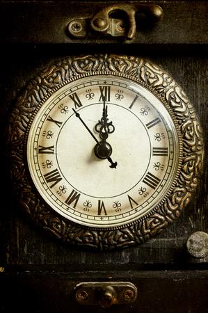 antique clock: Close up on vintage clock Stock Photo