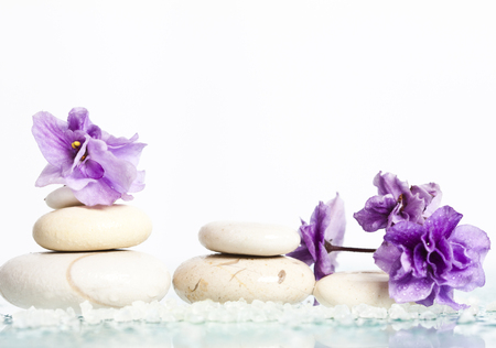 Spa stones and flower on white  photo