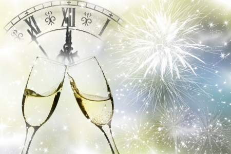 Glasses of champagne at New Years Eve photo