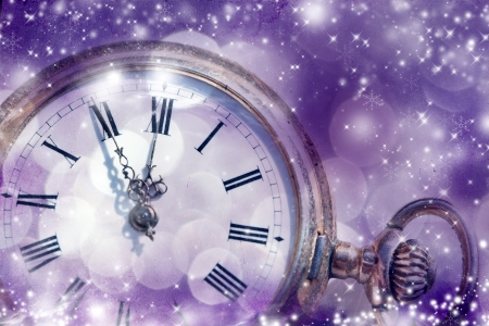 Vintage golden clock on abstract background Stock Photo - 24012693