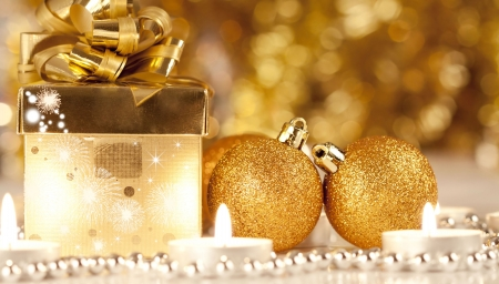 Christmas decoration with Gift box, candles and balls  photo