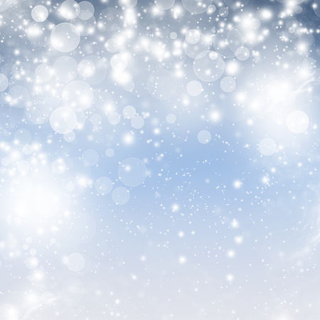 Abstract Christmas background with snowflakes and holiday lights  photo