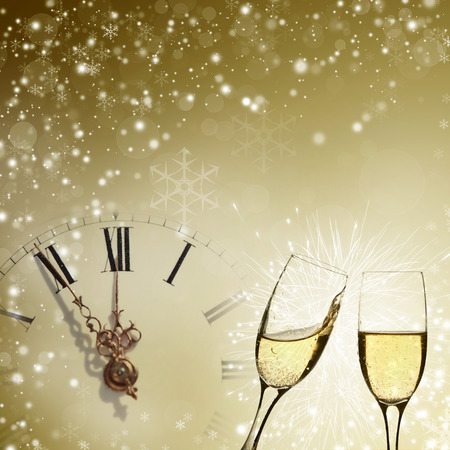Vintage background with champagne glasses and clock  photo