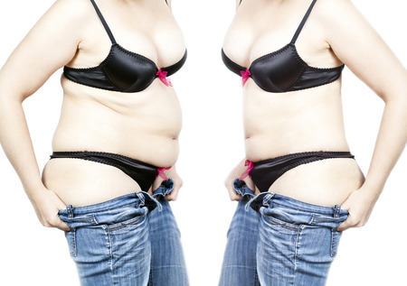 before after: Before and after a diet - Fat and thin woman isolated on white Stock Photo