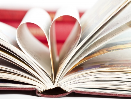 Vintage photo of heart shaped book pages photo