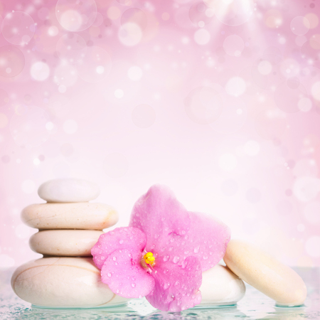 Spa stones and pink flower on colorful spring background