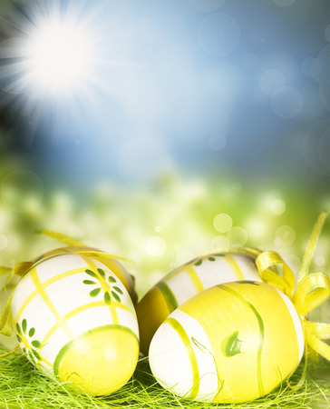 Yellow painted Easter eggs, green grass and sunny blue sky holliday decoration photo