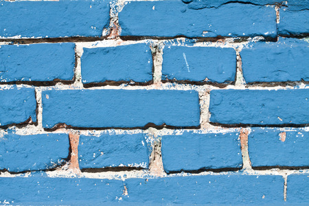 Blue painted brick wall texture photo