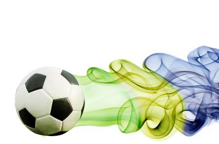 Soccer ball of Brazil 2014 covered in smoke Stock Photo