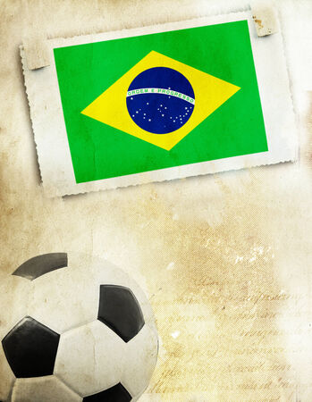 Vintage photo of Brazils flag and soccer ball photo