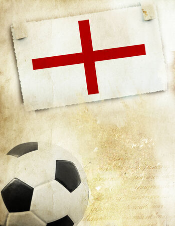 Vintage photo of England flag and soccer ball photo