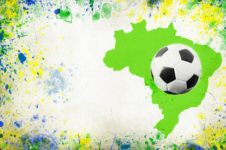 Vintage photo of soccer ball, Brazil map and the colors of the Brazil flag photo