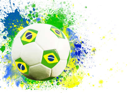 Soccer ball and the colors of the Brazil flag photo