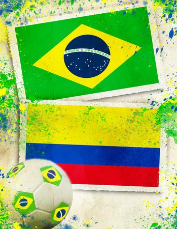 Brazil vs Colombia soccer ball concept photo