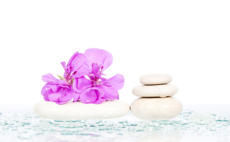 Spa stones and pink flower on white background photo