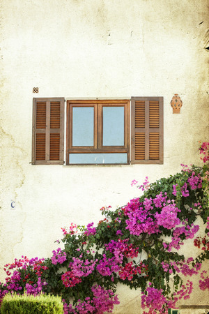 Window with open wooden shutters photo