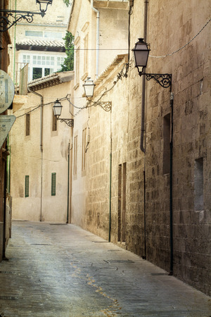 Narrow street in Palma de Mallorca photo