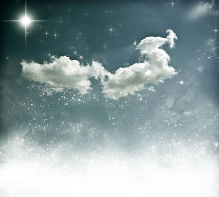 sky: Beautiful winter sky with fluffy cloud, stars and snowflakes