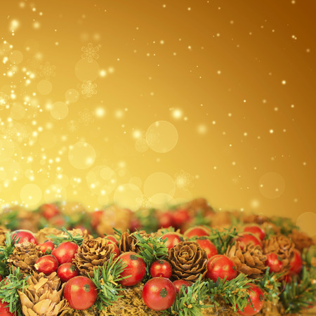 Close up on Christmas tree decoration and holiday lights photo